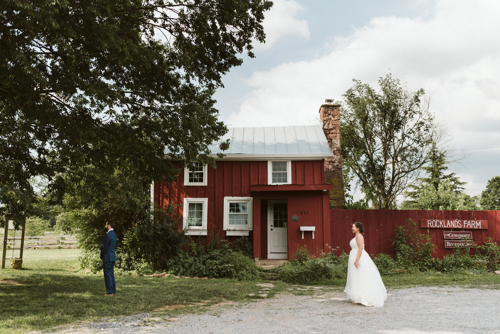 Rocklands Farm, Maryland, Intimate Wedding, Baltimore Wedding Photographer, Sungold Flower Co, Rustic, Romantic, Barn Wedding, Bride and Groom Just Before the First Look