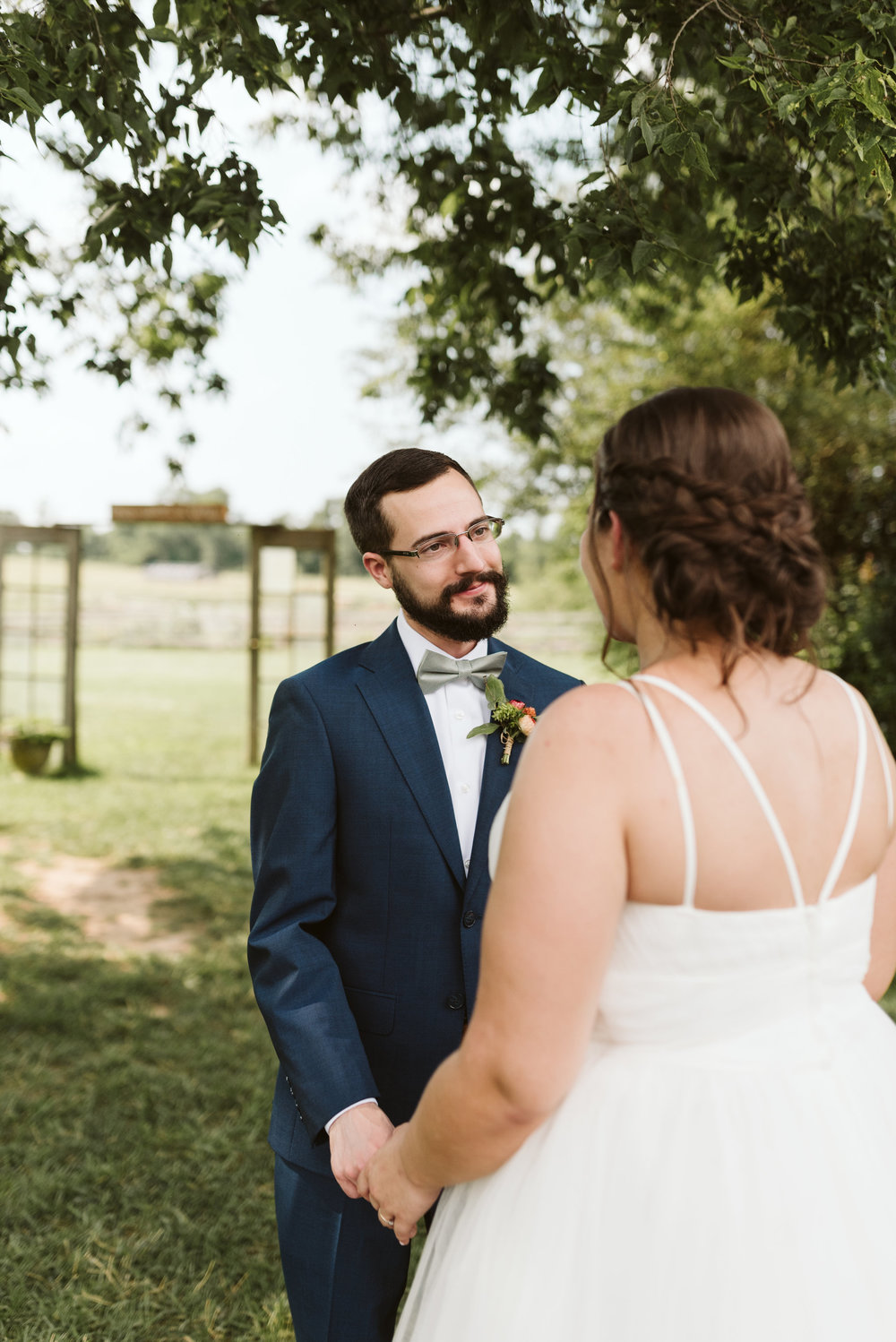 Rocklands Farm, Maryland, Intimate Wedding, Baltimore Wedding Photographer, Sungold Flower Co, Rustic, Romantic, Barn Wedding, Groom Looking Lovingly at Bride