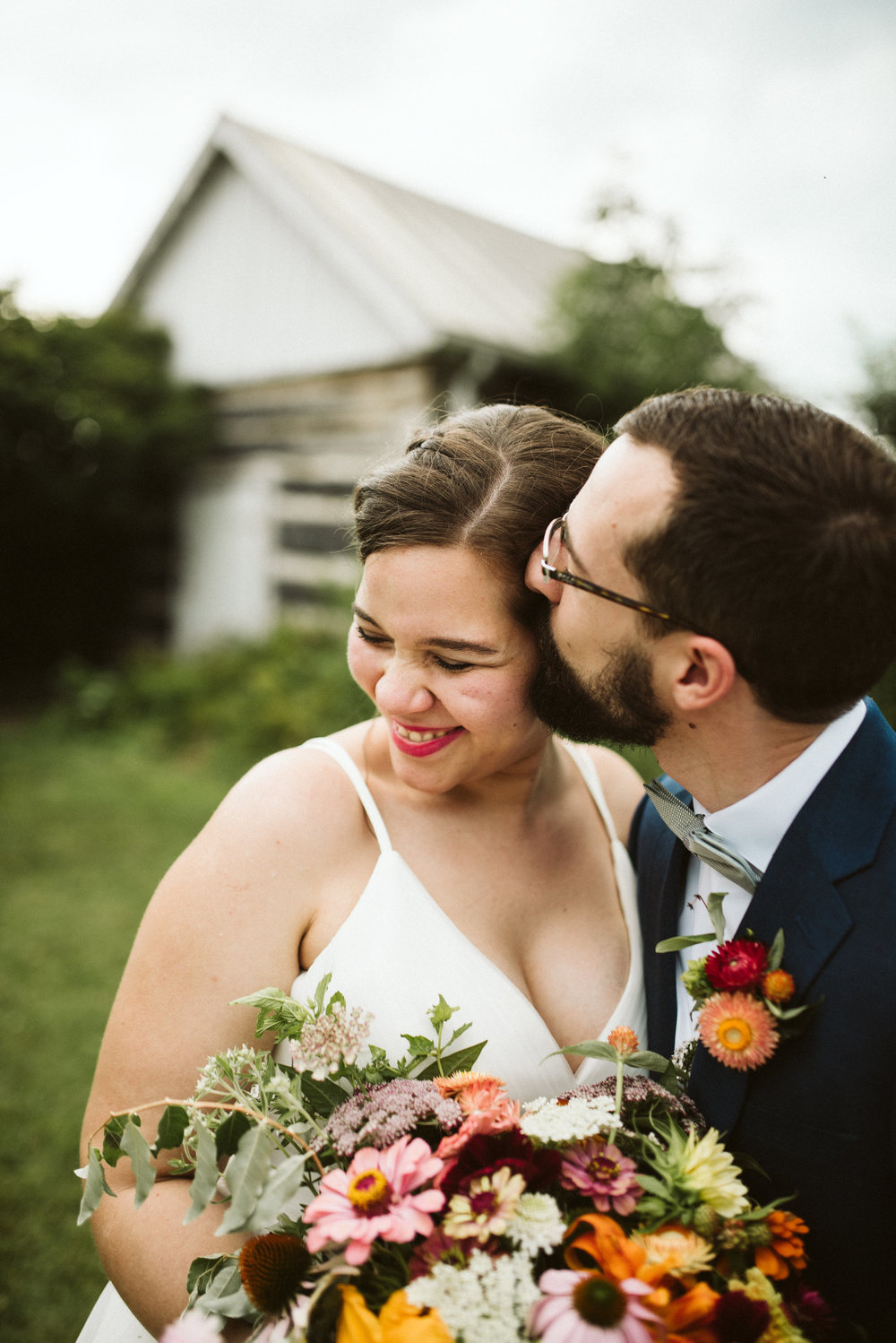 Rocklands Farm, Maryland, Intimate Wedding, Baltimore Wedding Photographer, Sungold Flower Co, Rustic, Romantic, Barn Wedding, Groom Kissing Bride's Head, Bride Laughing
