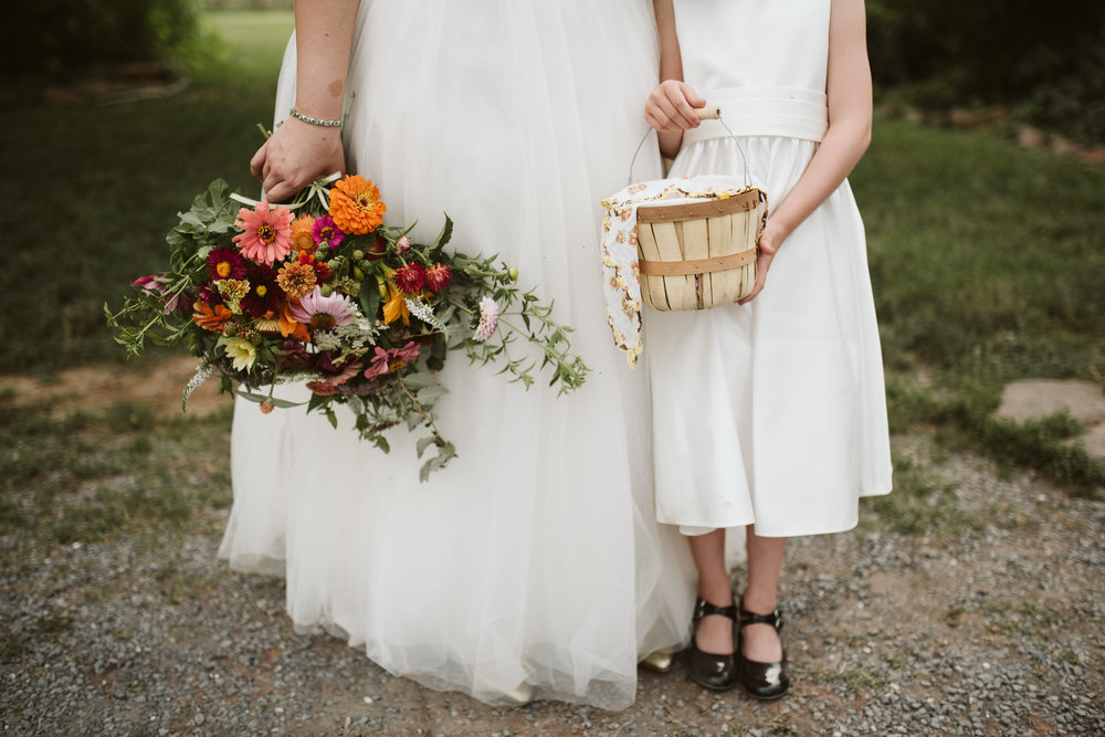 Rocklands Farm, Maryland, Intimate Wedding, Baltimore Wedding Photographer, Sungold Flower Co, Rustic, Romantic, Barn Wedding, Detail Photo of Bride and Flower Girl