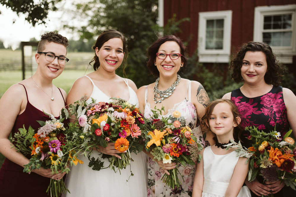 Rocklands Farm, Maryland, Intimate Wedding, Baltimore Wedding Photographer, Sungold Flower Co, Rustic, Romantic, Barn Wedding, Bride with Flower Girl and Bridesmaids, Orange and Purple Bouquets