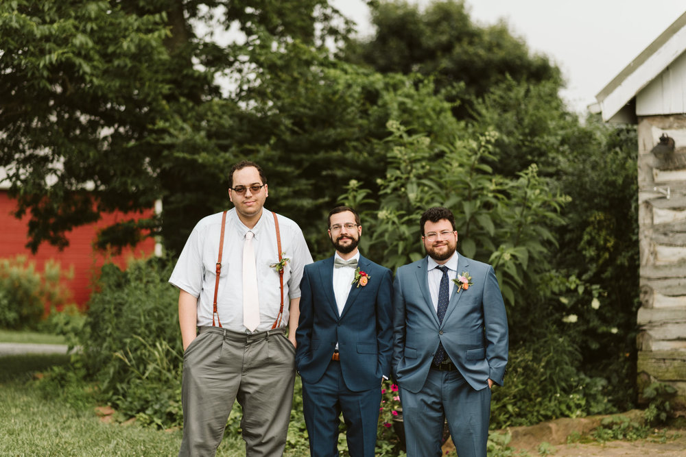 Rocklands Farm, Maryland, Intimate Wedding, Baltimore Wedding Photographer, Sungold Flower Co, Rustic, Romantic, Barn Wedding, Groom with Groomsmen Before Ceremony