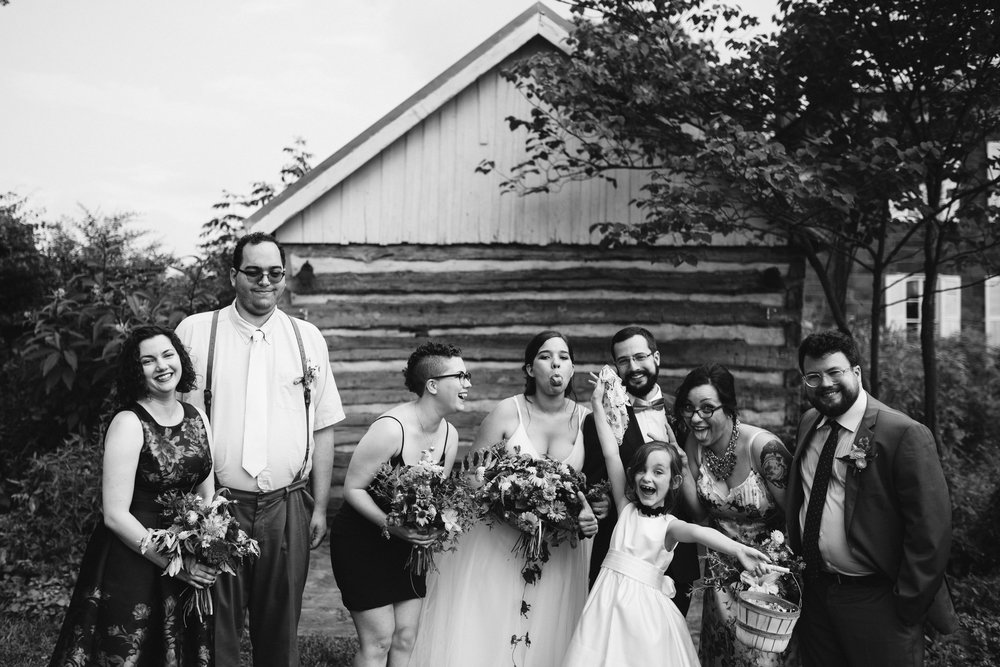 Rocklands Farm, Maryland, Intimate Wedding, Baltimore Wedding Photographer, Sungold Flower Co, Rustic, Romantic, Barn Wedding, Cute Photo of Wedding Party Having Fun, Black and White Photo