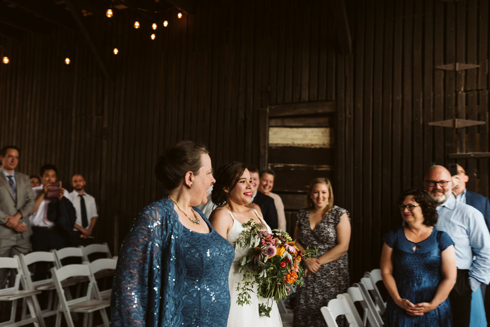 Rocklands Farm, Maryland, Intimate Wedding, Baltimore Wedding Photographer, Sungold Flower Co, Rustic, Romantic, Barn Wedding, Bride with Mother Walking Down Aisle
