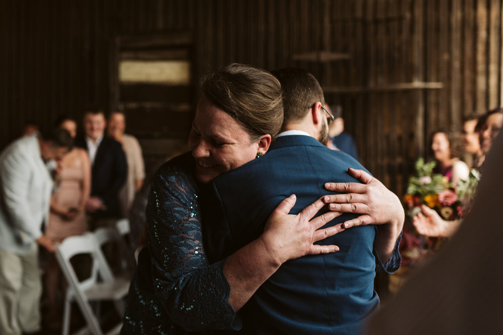 Rocklands Farm, Maryland, Intimate Wedding, Baltimore Wedding Photographer, Sungold Flower Co, Rustic, Romantic, Barn Wedding, Mother of the Bride Hugging Groom at Ceremony