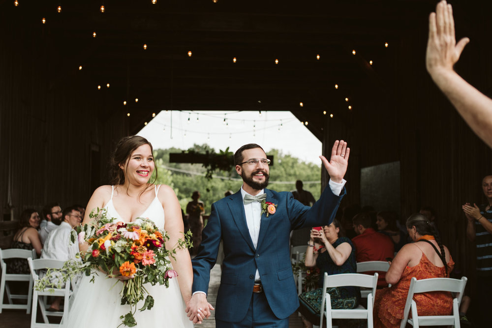Rocklands Farm, Maryland, Intimate Wedding, Baltimore Wedding Photographer, Sungold Flower Co, Rustic, Romantic, Barn Wedding, Bride and Groom Just Married, Walking Down Aisle