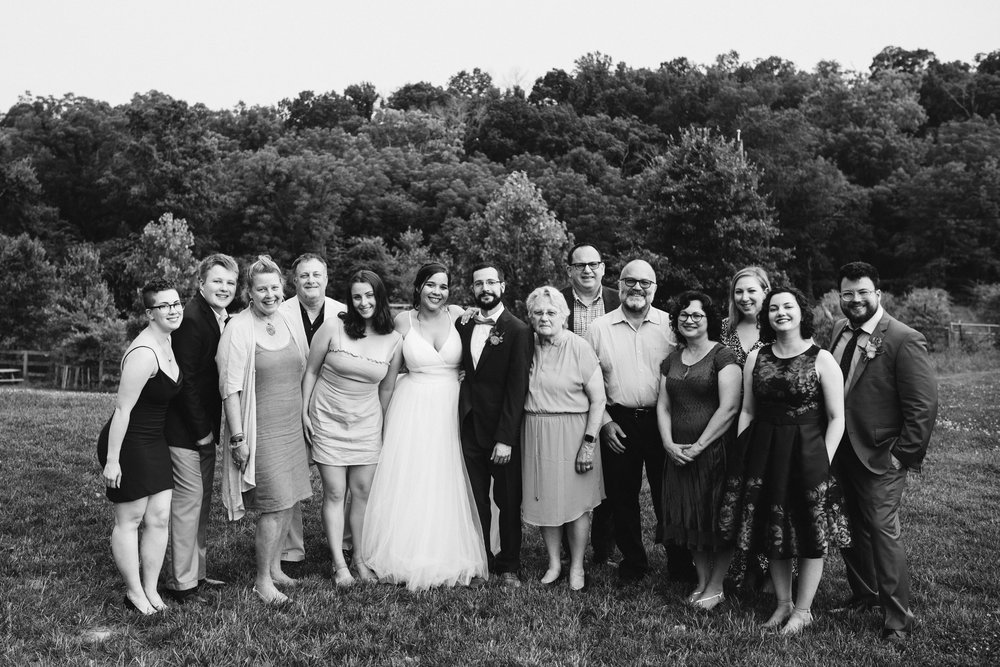 Rocklands Farm, Maryland, Intimate Wedding, Baltimore Wedding Photographer, Sungold Flower Co, Rustic, Romantic, Barn Wedding, Bride and Groom with Families, Family Portrait, Black and White