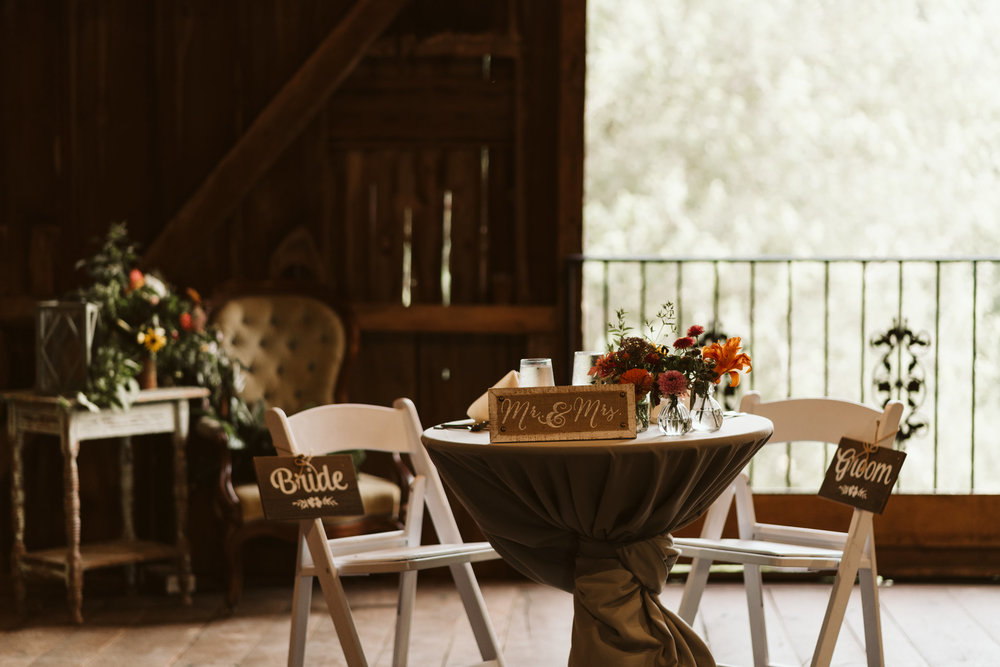 Rocklands Farm, Maryland, Intimate Wedding, Baltimore Wedding Photographer, Sungold Flower Co, Rustic, Romantic, Barn Wedding, Bridal Table, DIY Signage