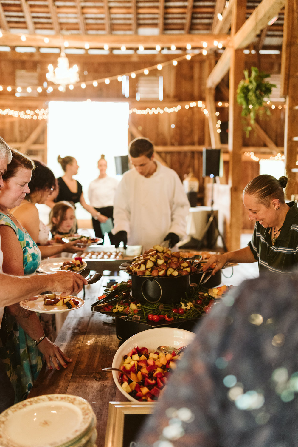 Rocklands Farm, Maryland, Intimate Wedding, Baltimore Wedding Photographer, Sungold Flower Co, Rustic, Romantic, Barn Wedding, Buffet at Reception, Wedding Food