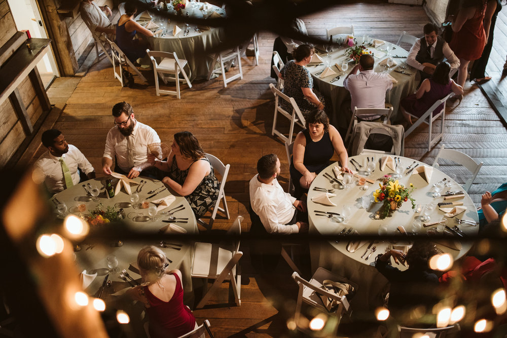 Rocklands Farm, Maryland, Intimate Wedding, Baltimore Wedding Photographer, Sungold Flower Co, Rustic, Romantic, Barn Wedding, Overhead Shot of Guests Enjoying Reception