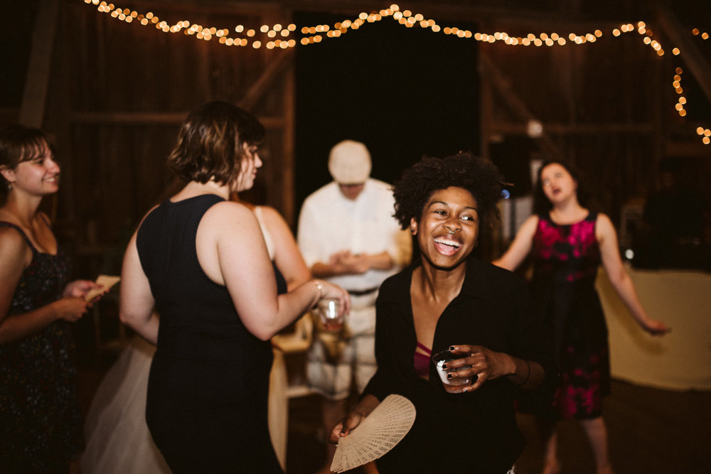 Rocklands Farm, Maryland, Intimate Wedding, Baltimore Wedding Photographer, Sungold Flower Co, Rustic, Romantic, Barn Wedding, Friends Laughing and Dancing at Reception