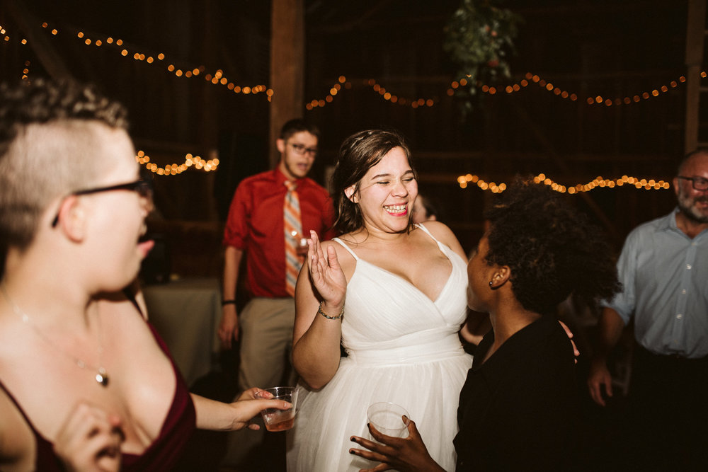 Rocklands Farm, Maryland, Intimate Wedding, Baltimore Wedding Photographer, Sungold Flower Co, Rustic, Romantic, Barn Wedding, Bride Laughing and Dancing with Friends