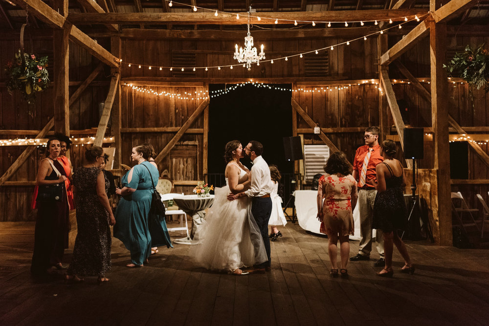 Rocklands Farm, Maryland, Intimate Wedding, Baltimore Wedding Photographer, Sungold Flower Co, Rustic, Romantic, Barn Wedding, Bride and Groom Kissing on Dance Floor