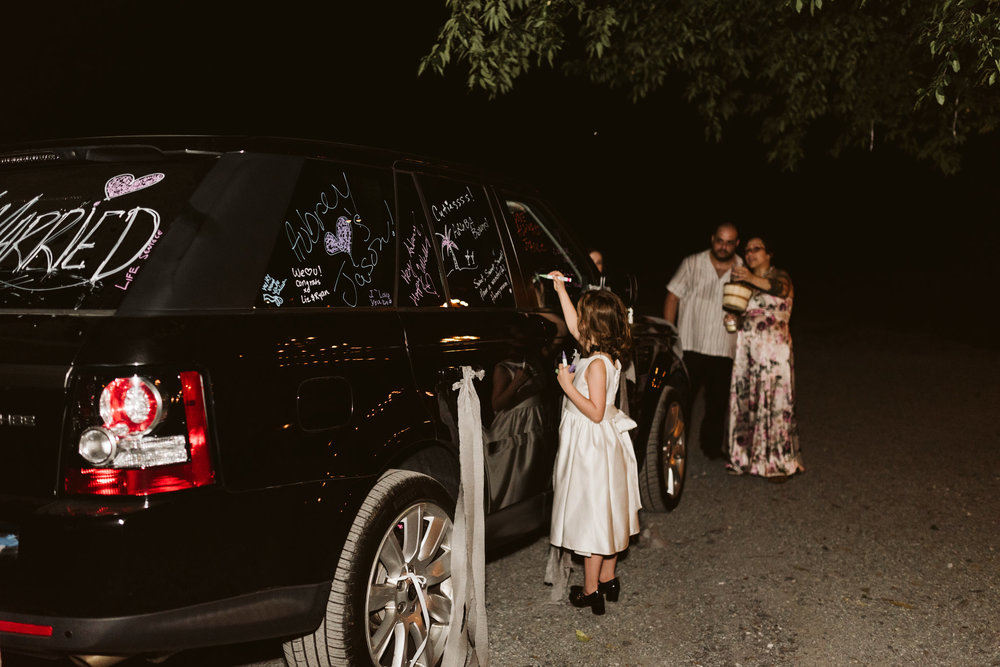 Rocklands Farm, Maryland, Intimate Wedding, Baltimore Wedding Photographer, Sungold Flower Co, Rustic, Romantic, Barn Wedding, Flower Girl Decorating Car, Just Married