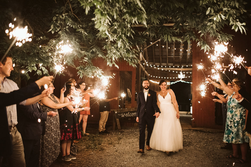 Rocklands Farm, Maryland, Intimate Wedding, Baltimore Wedding Photographer, Sungold Flower Co, Rustic, Romantic, Barn Wedding, Bride and Groom Walking Through Line of Sparklers