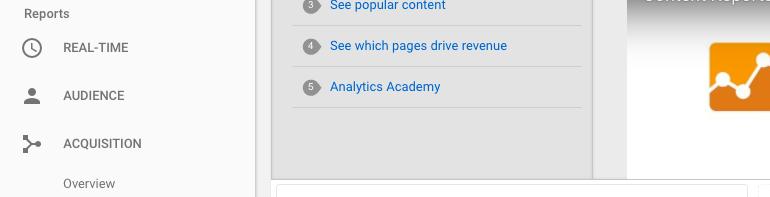 Google Analytics > Acquisition