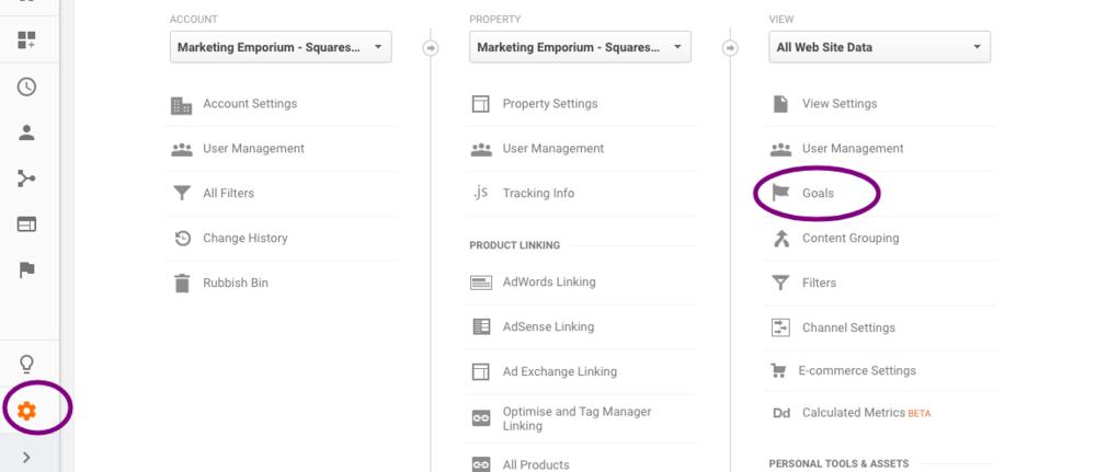 Google Analytics -> Admin -> View -> Goals