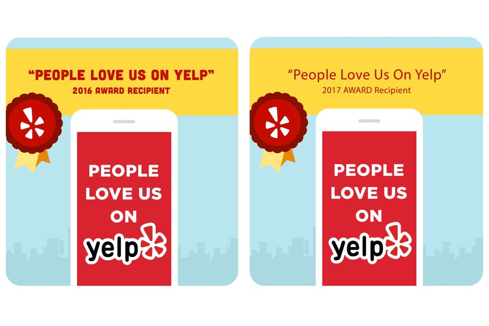 2 years in a row! - Proudly awarded by Yelp as
