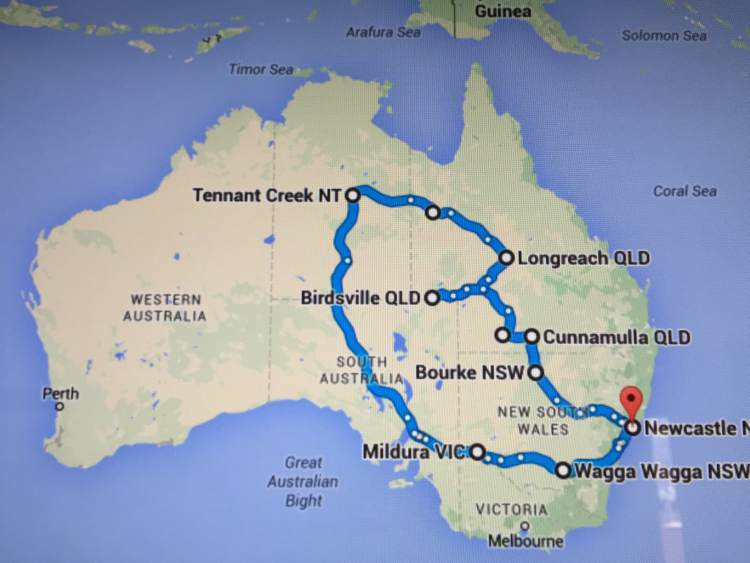 The route we took - 8000km of it!