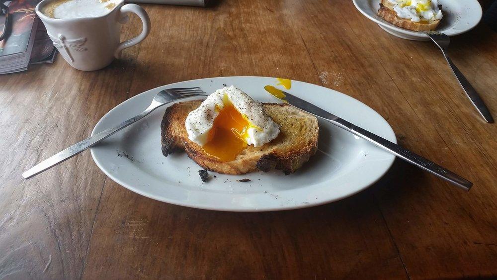 Farm laid organic egg on toast, heaven