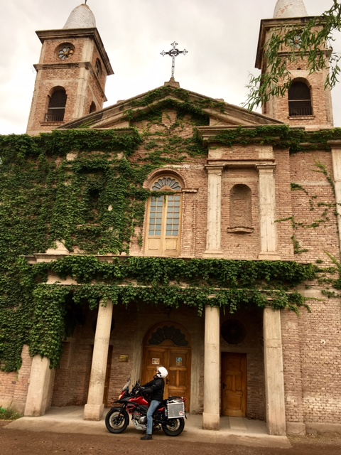 A beautiful old vine-covered church in the vineyards of Mendoza