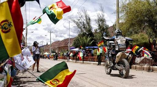 Not quite how we looked arriving in La Paz, but the cheering and flag waving was much the same