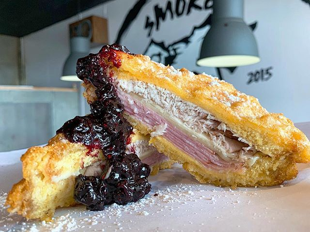 @devman139 back at it with another killer feature!! . that monte cristo tho... . house smoked turkey. honey ham. american cheese. martins potato bread. wtf jam. corn dog battered. . see you soon!! . . . #montecristo #smokedturkey #honeyham #thatsmyjam #hickorysmokedgoodness #baltimore #bossdawg #modernamericanbbq #cockeysville #baltimore #bbq #instafood #foodstagram #buzzfeedfood #huffposttaste #instagood #insiderfood