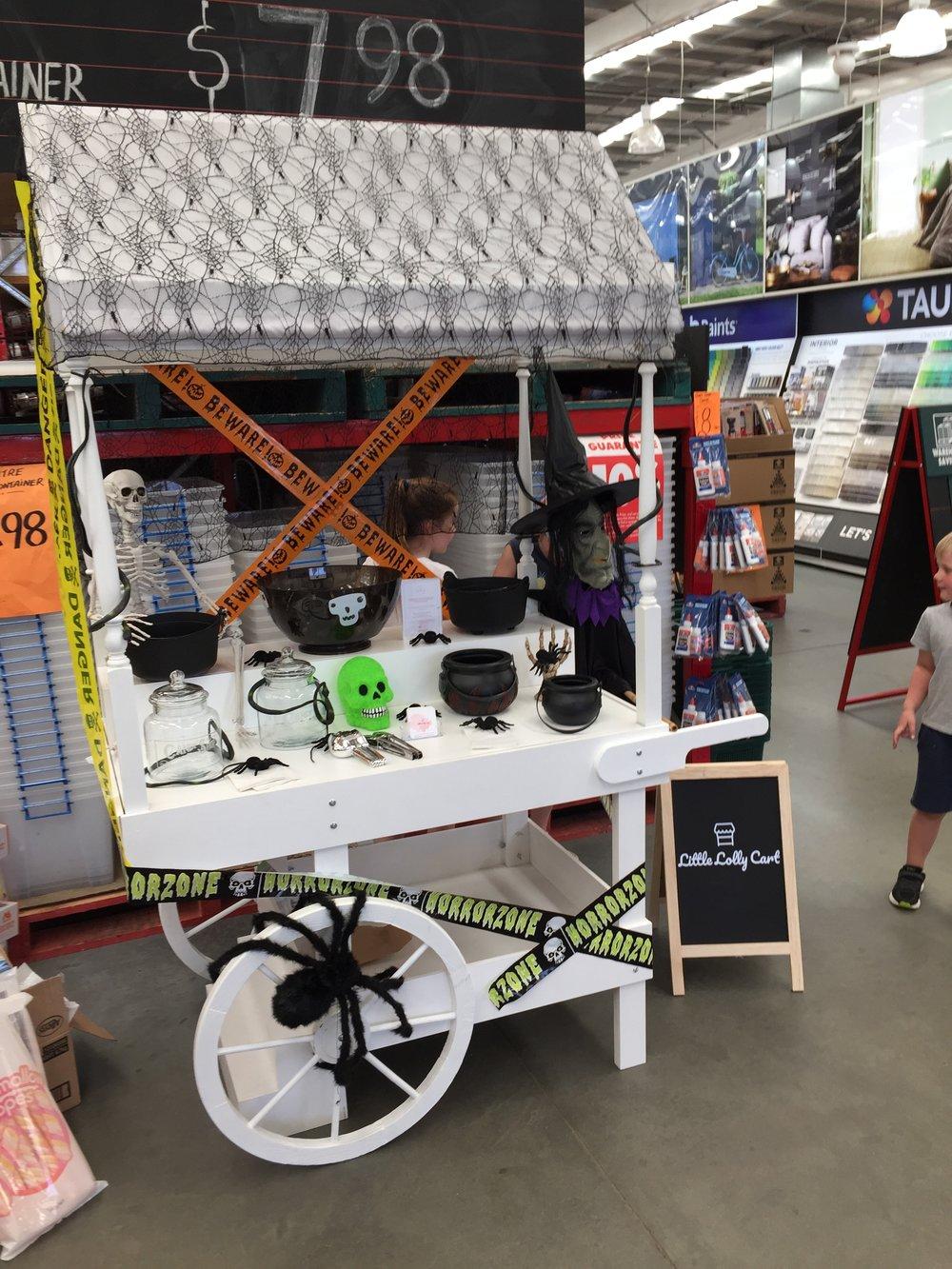 Little Lolly Cart's Halloween Setup at Bunnings Harrisdale