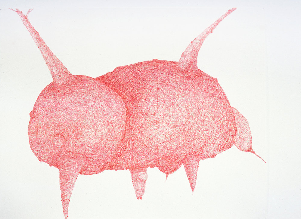 Red III, wax pencil on paper, (W) 153 x 122 cm