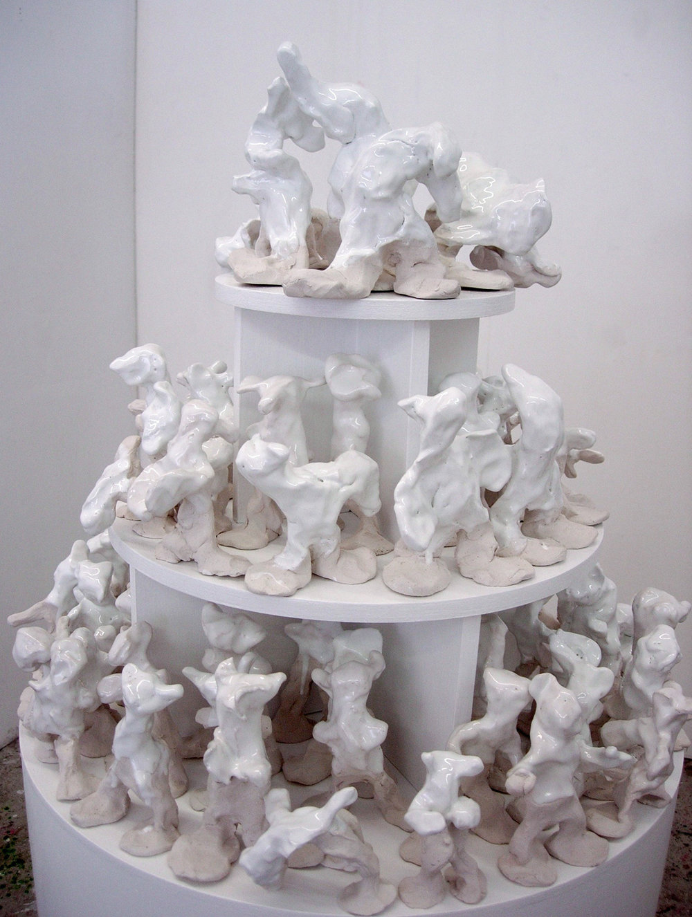Snowy (detail), glazed clay on bespoke mdf plinth with shelves, (W) 51cm x 132cm