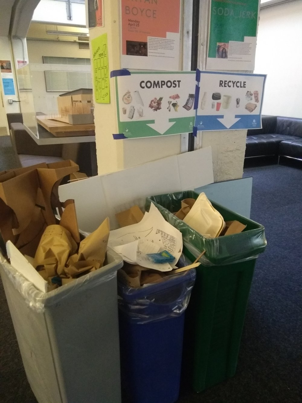 Pinning up waste segregation posters above waste bins to observe changes in correct segregation