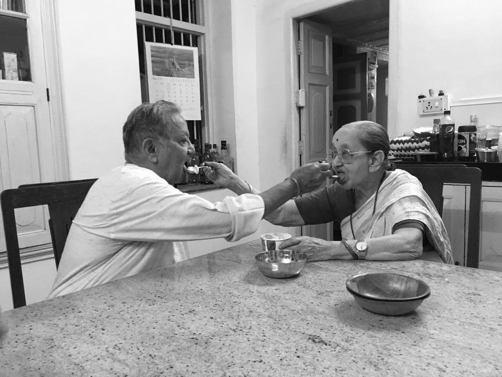 Prema and Hemant celebrating their 65th Wedding Anniversary with ice-cream, my grandma's favorite.