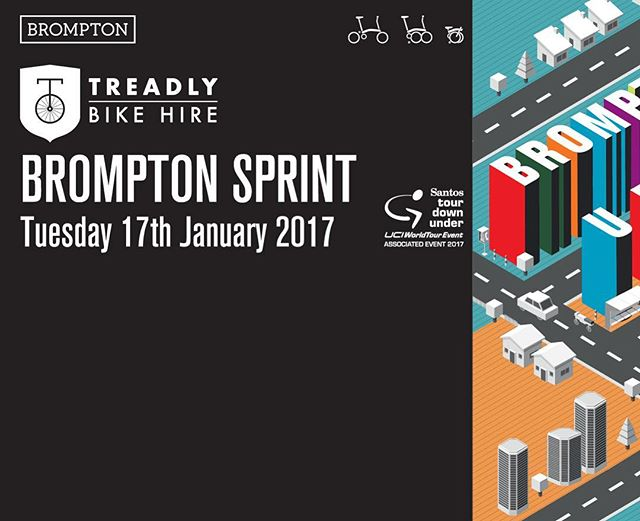 Treadly Bike Hire & Brompton Australia are hosting the Brompton Sprint during the #tdu17 in conjunction with the Santos Women's Tour Stage 4 at Victoria Park.  International Brompton Race Rules apply: Jacket and tie dress code with Le Mans start.  Link in bio.  #treadlybikehire #bromptonbicycle #tdu17 #santostourdownunder