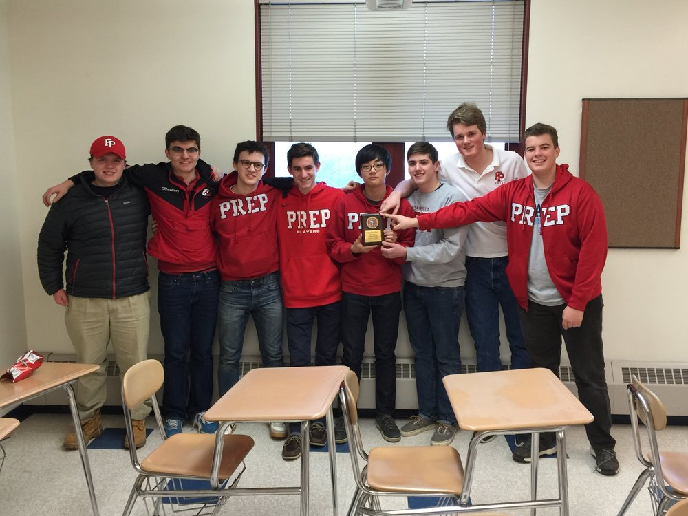 Some of the members of the Fairfield Prep Historians Club after placing third in the 2016 Connecticut History Bowl. Third from left is Mark Sheffer.