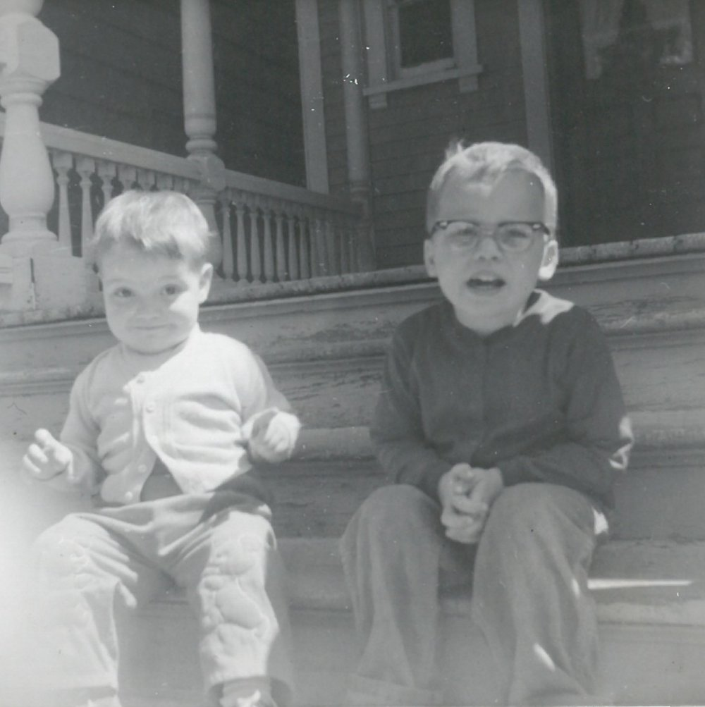 Me and my brother Ken on the front porch of 428 Union St.