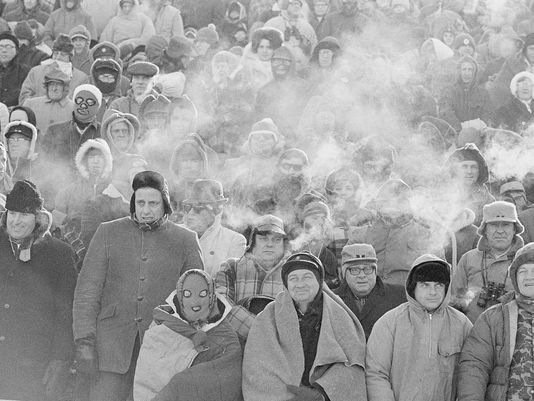 "Packer fans at the December 1967 ""Ice Bowl."""