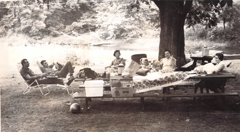 "This was a rare time the Sheffer family held its own picnic at Fatso's, rather than with a group of families. From left are my step-grandfather Al Rivenburgh, my father, my mother, my brother Ken, my sister Val, my Grandma Gladys (""Bonnie"") Rivenburgh, me, and my Grandma Borrelle."