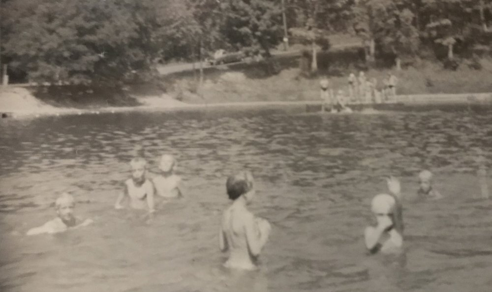 My Aunt Bitsy, right, getting ready to dive under.