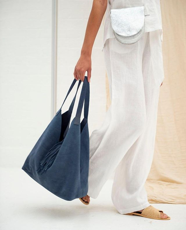 Silver Crossbody Saddle Bag + the Squishy Suede Tote in Sky + the Natural Raffia Slides all new items to the collection this season | #zh #zwina  | | | #ss19 #whattowear #whattobuy #holidayshop #marrakech #ethical #ethicalbrands