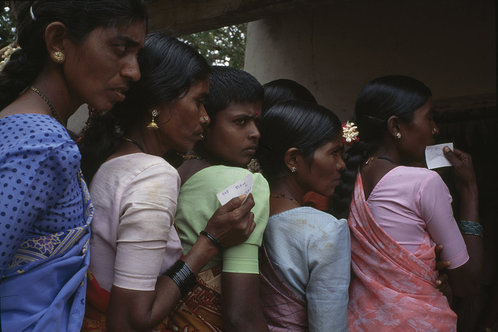 """Dalit Women Waiting to Vote"" - Karnataka, India - 2000"