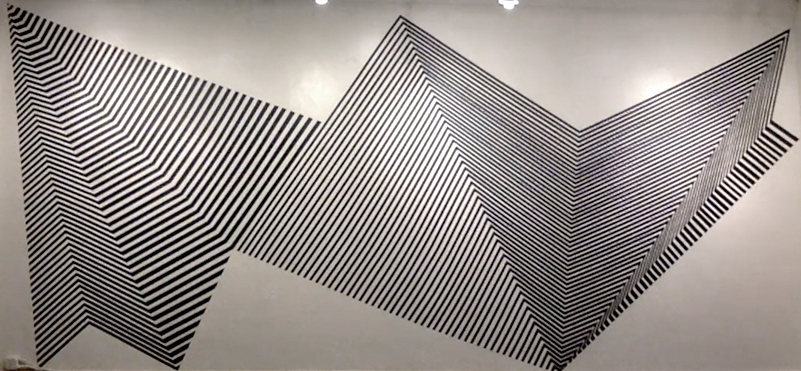 Her Waveform, 1″ black masking tape installation, 11′ x 27′