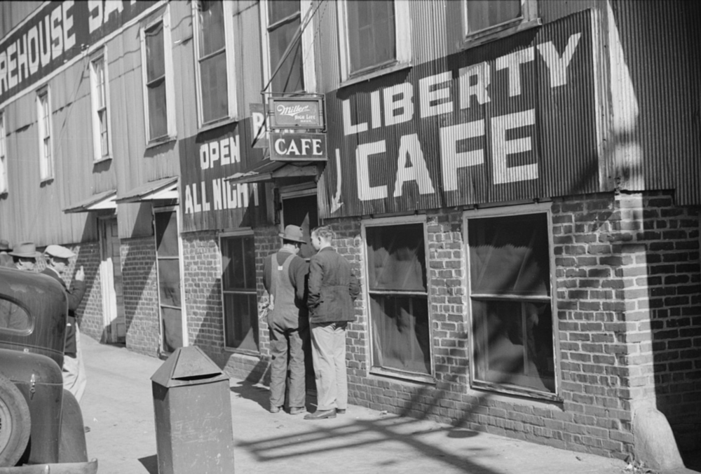 Untitled (Liberty Cafe open all day and night, Durham, North Carolina), 1939. Photo by Marion Post Wolcott via Library of Congress.