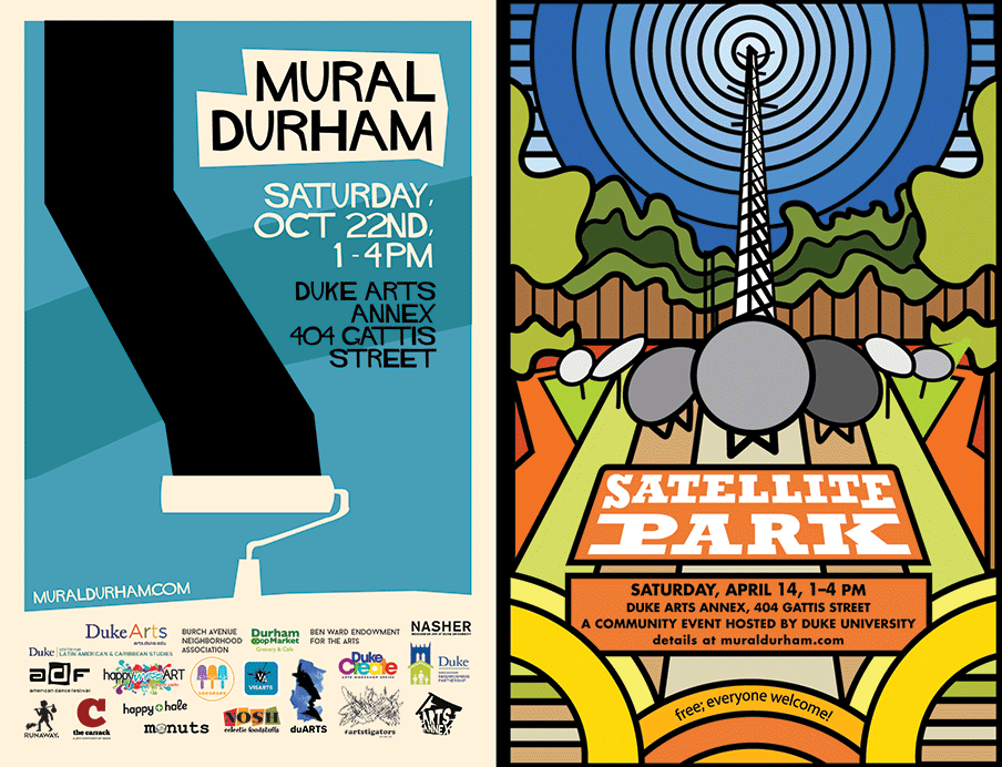 Past Mural Durham festival posters by Duke students Dorothy Feng (T '18) and Adair Jones (T '19).
