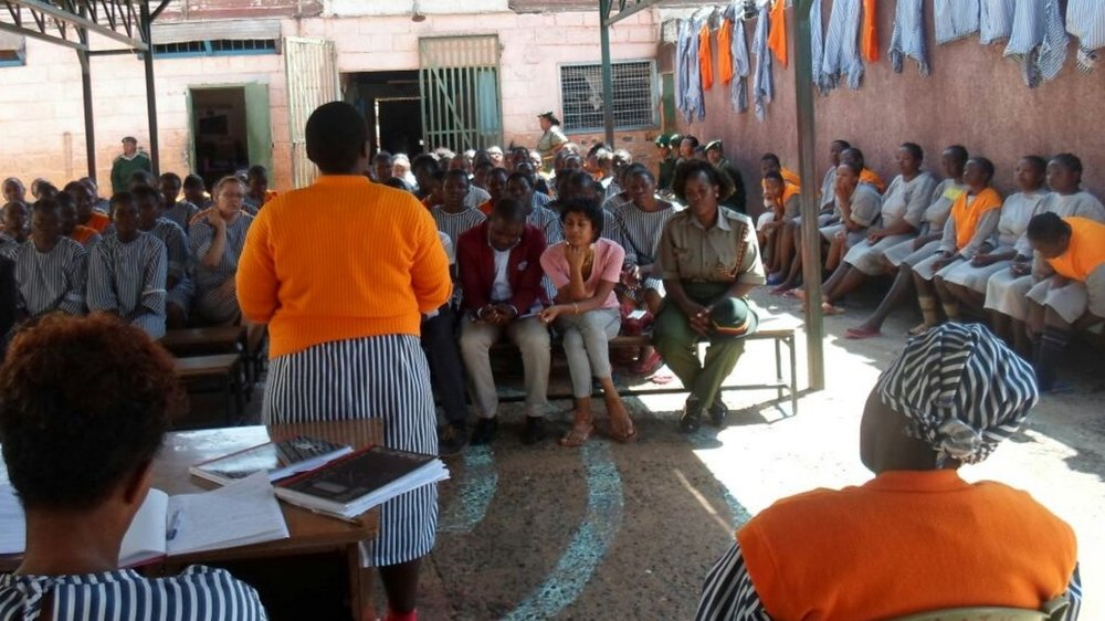 Above: During a legal awareness session at Lang'ata Women's Prison