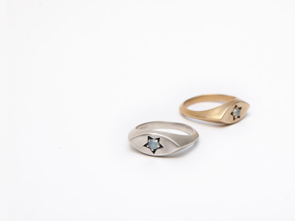 Star Signet Rings in sterling silver and brass with aquamarine.
