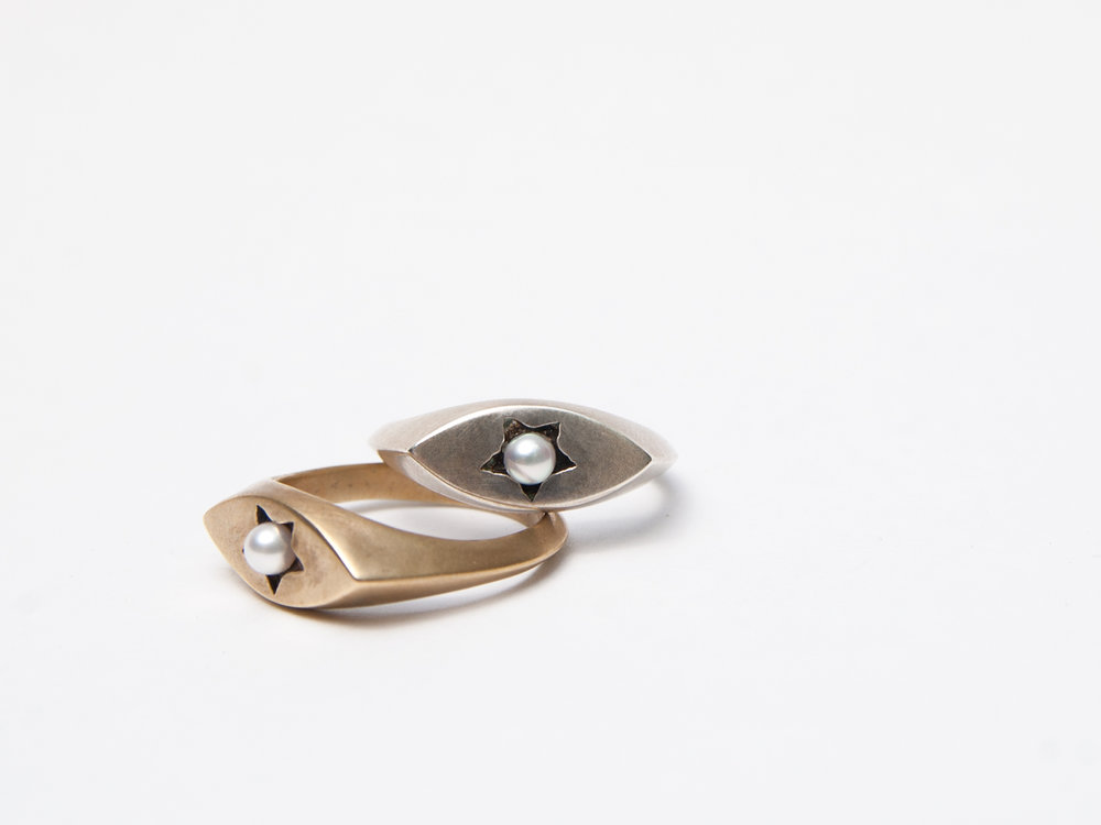 Star Signet Rings in brass and sterling silver with Akoya pearls.