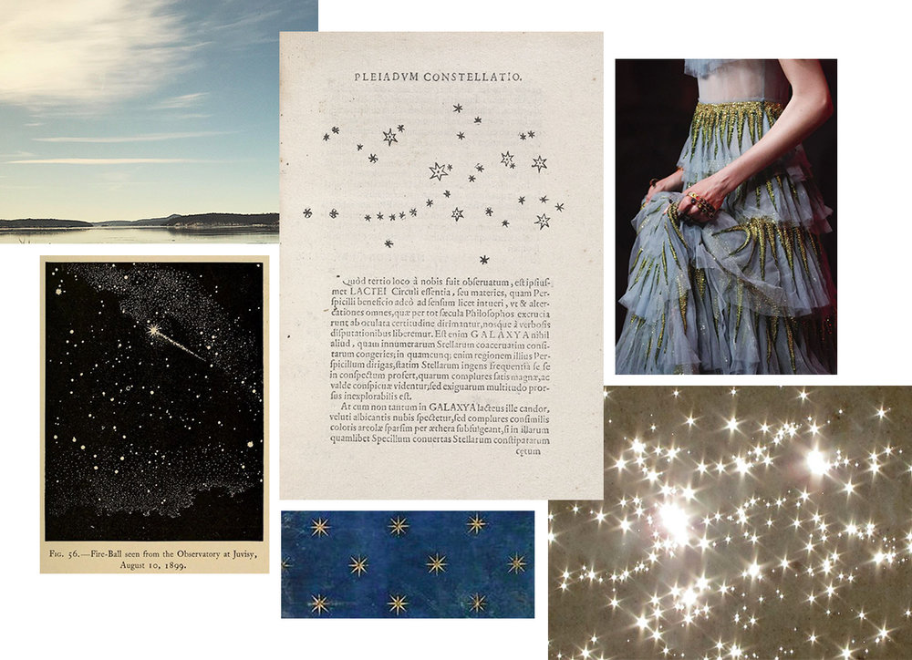 "Images, clockwise from top left:  personal photo taken in upstate New York; page from Galileo's  Sidereus Nuncius ; detail of Gucci gown from Spring 2017; ""Stars of the Ocean,"" photo by Marit Hettinga via Flickr; detail of ceiling fresco by Giotto; found image via Pinterest."