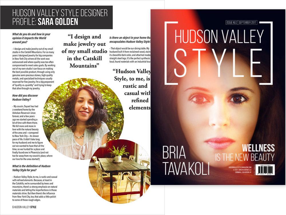 "Hudson Valley Style Magazine  , September 2017  ""Designer Profile: Sara Golden"""