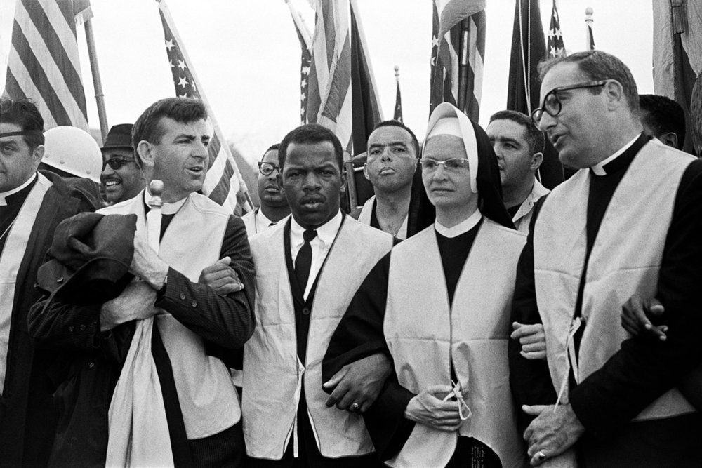 John Lewis and clergy on Bloody Sunday, 1965 (Photo: Stephen F. Somerstein)
