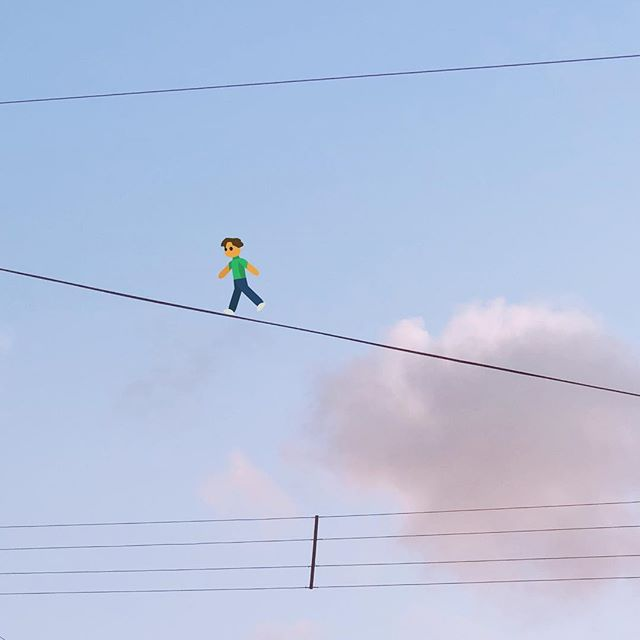 Tightrope walking across the Brazilian sky! 💙 #funambulism #giddyfingers